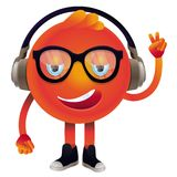 Lustiges Monster des Vektors mit Kopfhörern und Gläsern Stockbild