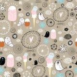 Lustiges Muster der Vögel und der Eiscreme Lizenzfreie Stockbilder