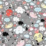 Lustiges Muster der Wolken der Vögel und der Elemente vektor abbildung