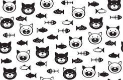 Lustiges nahtloses Muster der Katzen und der Fische des Vektors Lizenzfreie Stockfotos