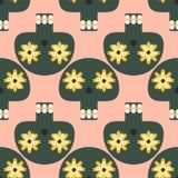 Lustiges nahtloses Muster mit den netten Schädeln Stockbilder