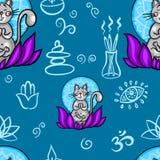 Lustiges nahtloses Muster mit der Karikaturkatze, die Yogaposition tut Katzenmeditation im Lotos Gesundes Lebensstilkonzept stock abbildung