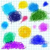 Lustiges nahtloses Muster mit Hand gezeichneten coloful Stellen Stockbild