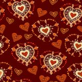 Lustiges nahtloses Muster mit Herzen Vektor Stockfotos