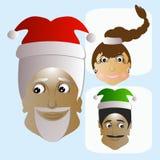Lustiges neues ungewöhnliches des Santa Claus-Ikonenkopfes seine Assistenten einige Leute Stockfotografie