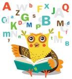 Lustiges Owl Learn To Read Book auf einem weißen Hintergrund Lizenzfreie Stockfotos