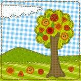 Lustiges Patchwork mit Baum und Knöpfen Stockfotografie