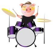 Lustiges piggy mit Sonnenbrille spielt Trommeln lizenzfreie abbildung