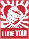 Lustiges Plakat oder Postkarte des Valentinstags mit der Hand Stockbilder