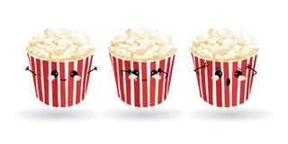 Lustiges Popcorn der Karikatur Hand gezeichneter Satz emoji Vektor Emoticon-Illustrationslebensmittel stockfotos