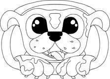 Lustiges Porträt des Hundes Zeichentrickfilm-Figuren, Karikaturtiere Farbton auf weißem Hintergrund Stockbilder
