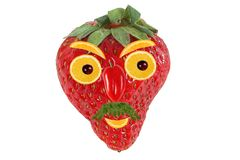 Lustiges Porträt eines Mannes gemacht?? von der Erdbeere und von der Orange Lizenzfreie Stockfotografie