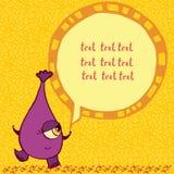 Lustiges purpurrotes Monster mit einer Aufschrift Stockbild