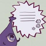 Lustiges purpurrotes Monster mit Rahmen für Text Stockfotografie