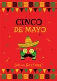 Lustiges rotes Einladungsplakat Gesicht cinco Des Mayo Stockbild