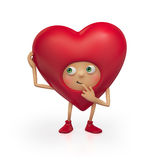 Lustiges rotes Valentinsgrußinner-Karikaturdenken Stockfotografie