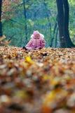 Lustiges Schätzchen, das mit Blättern spielt Lizenzfreie Stockfotos