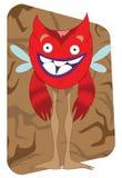Lustiges schauendes rotes ausländisches Monster mit Flügeln lizenzfreie abbildung