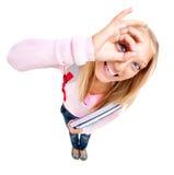 Lustiges Schulmädchen oder Student Stockbilder