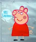 Lustiges Schwein der Straßenkunst Stockfotografie