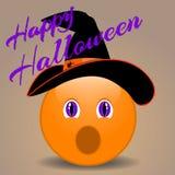Lustiges smileygesicht Halloweens in einem Hut Stockbilder