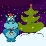 Lustiges starkes Flusspferd nahe Weihnachtsbaum vektor abbildung