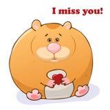 Lustiges Tier des Vektors Netter Hamster mit einem Herzen in seinen Händen Postkarte mit der Phrase: Du fehlst mir Nettes kleines lizenzfreie abbildung