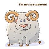Lustiges Tier des Vektors Starke nette Schafe mit Hörnern Postkarte mit einer komischen Phrase Nettes fettes Tier lokalisierter G lizenzfreie abbildung