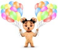 Lustiges Tier halten ein Bündel Ballone Stockfotografie