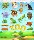 Lustiges Tierset Elefant, Giraffe, Tiger, Chamäleon, Tukan, Eule, Schafe und Frosch Zooikonensatz Lizenzfreies Stockfoto