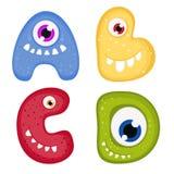 Lustiges Toothy Monster-Alphabet Lizenzfreies Stockfoto