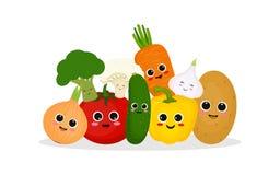Lustiges und glückliches Gemüse stock abbildung