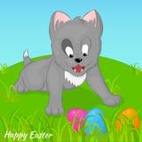 Lustiges und nettes Kätzchen gefundene Ostereier Feiertagshintergrund-, Grußkarten-, Plakat- oder Plakatschablone in der Karikatu Stockfoto