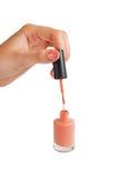 Lustrador de prego Close-up da mão fêmea que guarda um Br de lustro do prego Fotos de Stock