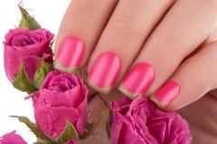 Lustrador de prego cor-de-rosa Foto de Stock