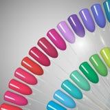 Lustrador de prego Polimento do gel Lustrador de prego em cores diferentes ilustração do vetor