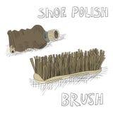Lustrador e escova de sapata Fotografia de Stock Royalty Free