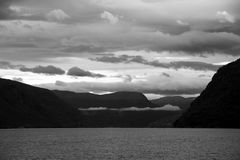 Lustrafjorden in Black and White, Sogn og Fjordane, Norway Royalty Free Stock Photo