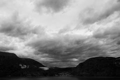 Lustrafjorden in Black and White, Sogn og Fjordane, Norway Stock Photography