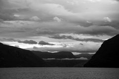 Lustrafjorden in Black and White, Sogn og Fjordane, Norway. The Lustrafjorden or Lusterfjorden is located in the norwegian province Sogn og Fjordane Stock Image