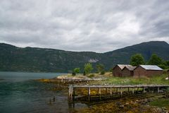 Lustrafjorden, Sogn og Fjordane, Norway. The Lustrafjorden or Lusterfjorden is located in the norwegian province Sogn og Fjordane Stock Photo