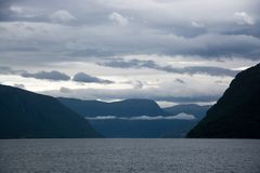 Lustrafjorden, Sogn og Fjordane, Norway. The Lustrafjorden or Lusterfjorden is located in the norwegian province Sogn og Fjordane Royalty Free Stock Photo