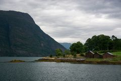 Lustrafjorden, Sogn og Fjordane, Norway. The Lustrafjorden or Lusterfjorden is located in the norwegian province Sogn og Fjordane Stock Photos