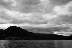Lustrafjordenin BLack and White, Sogn og Fjordane, Norway Stock Images