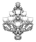 Lustre de Rich Baroque Classic Conception accessoire de décor de luxe Croquis d'illustration de vecteur Photos stock