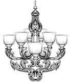 Lustre de Rich Baroque Classic Conception accessoire de décor de luxe Croquis d'illustration de vecteur Photos libres de droits