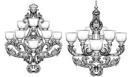 Lustre de Rich Baroque Classic Conception accessoire de décor de luxe Croquis d'illustration de vecteur Images stock