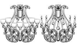 Lustre de Rich Baroque Classic Conception accessoire de décor de luxe Croquis d'illustration de vecteur Image stock