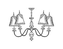 Lustre de Rich Baroque Classic Conception accessoire de décor de luxe Croquis d'illustration de vecteur Images libres de droits