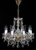 Lustre en cristal élégant de strass avec huit lampes photographie stock